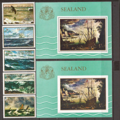 SEALAND PICTURA (serie dt. + 2 colite dt. si ndt.) MNH, Nestampilat