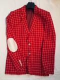 Sacou roșu bărbați - sacou evenimente, slim fit Zara, Rosu