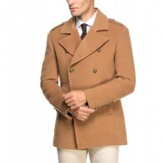 Palton Barbati Scurt Smart Casual cu Doua Randuri de Nasturi B102 Camel, M, Lana
