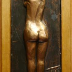 Tablou in basorelief pe arama ; Nud : In oglinda , semnat pe verso , interbelic
