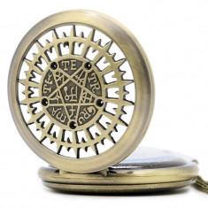 Ceas de buzunar, TETRAGRAMATON pentagrama gold gothic style