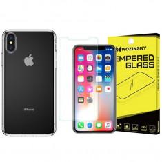 Set Husa Baseus Slim Fit Baseus Transparenta iPhone X/xs Si Folie Sticla Wozinsky 9h