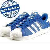 Pantofi sport Adidas Originals Superstar pentru barbati - adidasi originali, 40, 41 1/3, Albastru, Textil
