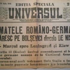 Ziarul Universul, editie speciala, duminica 13 iul. 1941, 2 pag. stare buna