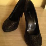 Pantofi de seara stilleto Luxury, 37, Negru, Cu toc
