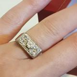 ART deco,superb inel din aur alb de 18 kt cu diamante