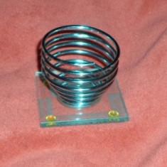Suport pentru OU FIERT/BURETE MACHIAJ OU, design special spirala inox pe cristal
