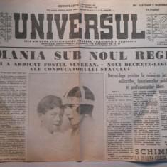 Ziarul Universul, luni 9 sept 1940, 2 pag, Romania sub noul regim
