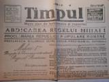 Ziarul Timpul, vineri 2 ian. 1948, abdicarea Regelui Mihai, 4 pagini
