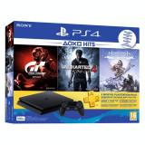 Pachet exclusiv PS4 Slim 500 GB 3 jocuri abonament PlayStation Plus pentru 90 zile