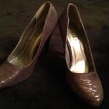 Pantofi stilleto eleganti cu insertii argintii, 36, Negru, Cu toc