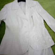 Costum dama, marimea 42, Gart, Costum cu fusta, Crem