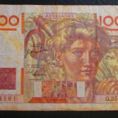 """Franta : 100 francs 1950 .bancnota , """"jeune paysan"""""""