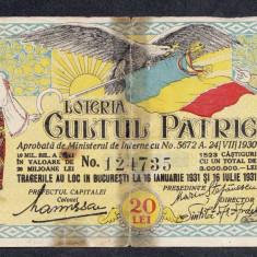 Bilet loto 20 lei 1931 Cultul Patriei