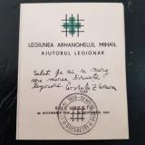CARNET LEGIONAR-AJUTORUL LEGIONAR-BUCURESTI 30 NOIEMBRIE 1940-TIP POPOV