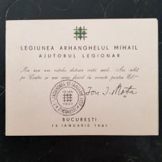 LEGIONARI-CARNET LEGIONAR-MOTA SI MARIN-BUCURESTI- 13  IANUARIE  1941