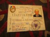 Duplicat legitimatie veteran in razboi grad de capitan in civilie colonel x1