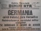 Ziarul Dimineata, editie speciala, sambata 16 mart. 1935, 2 pagini, stare buna