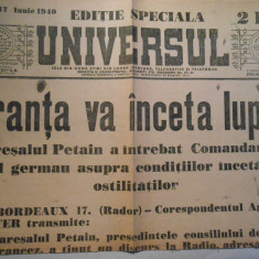 Ziarul Universul, editie speciala, 2 pag., luni 17 iun. 1940, stare buna