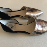 Pantofi ITALIA piele dama argintiu/auriu negru, 39.5, Cu talpa joasa, Made in Italia