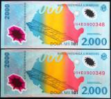Lot / Set 2 Bancnote Serii Consecutive 2000 Lei- ROMANIA, anul 1999  *cod 04 UNC