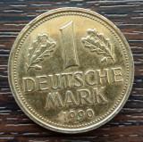 (M2038) MONEDA GERMANIA - 1 MARK 1990, LIT. F, PLACATA CU AUR, Europa