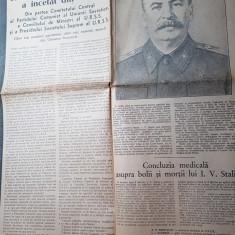 ziarul scanteia 6 martie 1953 - moartea lui stalin