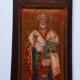 Icoana pictată pe lemn de tei sculptura- SF nicolae