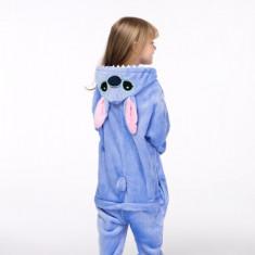 Pijama iarna, pufoasa, copii, model blue stitch