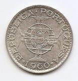 Mozambic 20 Escudos 1960 - Argint 10g/720, 29.7 mm KM-80, Africa