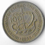 Moneda 100 mils 1955 - Cipru, Europa