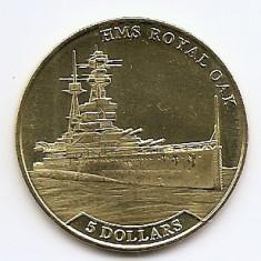 Nauru 5 Dollars  2016 - Elizabeth II (HMS Royal Oak) 35.5 mm KM-New aUNC !!!