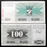 BOSNIA HERTEGOVINA 100 dinara dinari 1992 aproape NOUA aUNC