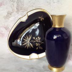 Scrumiera + vaza din portelan fin bavarez, cobalt si aur