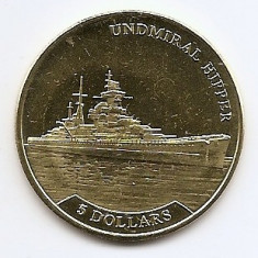 Nauru 5 Dollars 2017 - Elizabeth II (Undmiral Hipper) 35.5 mm KM-New aUNC !!!