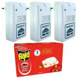 3 x Aparat ultrasunete impotriva daunatorilor + 1 x Raid, capcana pentru gandaci, Anti-insecte