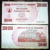 ZIMBABWE 200 000 200.000 dollars dolari 2007 CIRCULATA starea care se vede