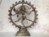 Incredibila statuie Nataraja din bronz placat cu argint, zeita Shiva, India