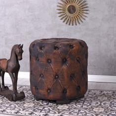 Otoman oval din lemn masiv cu tapiterie maroFHA018