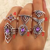 Lot 5 Inele stil Boho India Lotus argint tibetan inel piatra culoare mov ametist