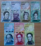 Lot set complet Venezuela 500 - 100000 100.000 Bolivares 2016 2017 UNC
