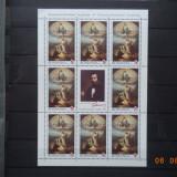 2018- Romania -Renasterea in pictura- minicoala de 8+1 , neuzata - MNH, Nestampilat