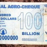 ZIMBABWE 100 000 000 000 100.000.000.000 dollars dolari 2008 (Agro Cheque)