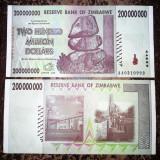 ZIMBABWE 200 000 000 200.000.000 dollars dolari 2008 CIRCULATA stare foarte buna