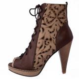 Pantofi dama, din piele naturala, Le Scarpe, 2012-M9-85, bej cu maro, marime: 36
