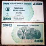 ZIMBABWE 25 000 000 25.000.000 dollars dolari 2008 CIRCULATA starea care se vede