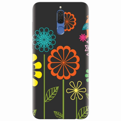Husa silicon pentru Huawei Mate 10 Lite, Colorful Spring Birds Flowers Vectors foto