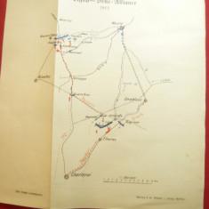Harta -Preludiul Bataliei  Waterloo 1815 -publicata de Werlag ES Mittler & Sohn