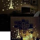 Poster Sticker perete fosforescent cu Turnul EIFFEL, I love Paris