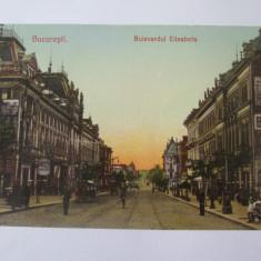 Bucuresti-Bulevardul Elisabeta,carte postala circulata 1906